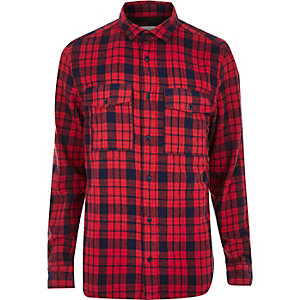Red check casual double pocket shirt