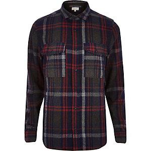 Grey check casual double pocket shirt