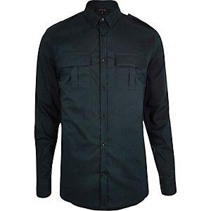 Teal green skinny stretch military shirt