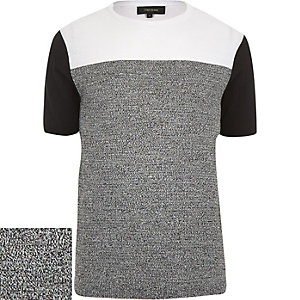 Grey knitted colour block jumper