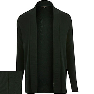 Dark green open front cardigan