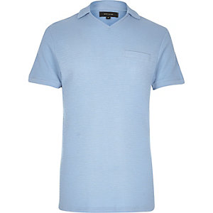 Light blue waffle revere collar polo shirt