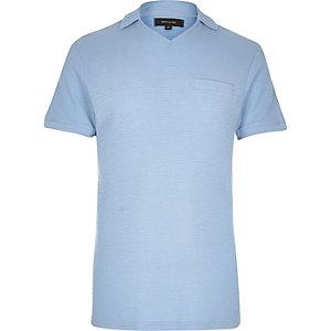 Light blue waffle revere collar polo shirt