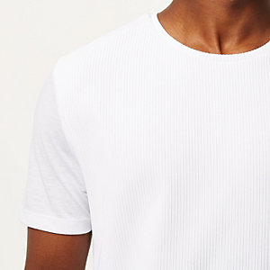 White textured front t-shirt