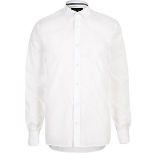 White faded jacquard paisley shirt
