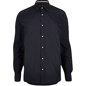 Navy subtle paisley jacquard shirt