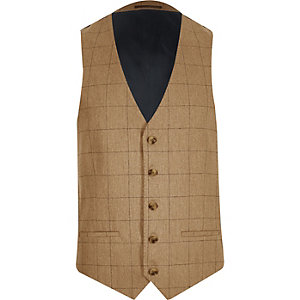 Brown check wool-blend waistcoat