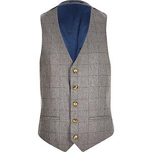 Grey check wool-blend slim waistcoat