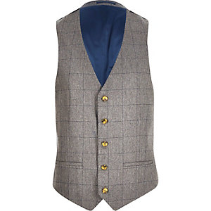 Grey check wool-blend slim vest