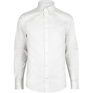 White smart cotton skinny shirt