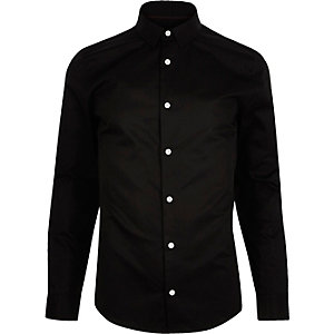 Black twill long sleeve shirt