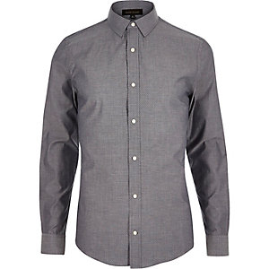 Grey patterned skinny shirt