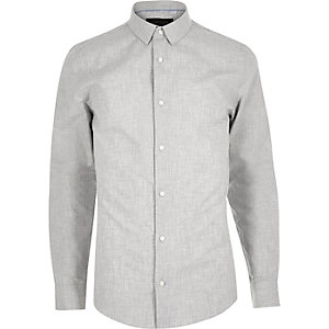Grey smart cotton twill shirt
