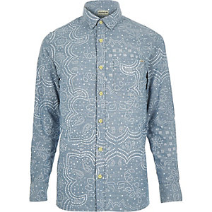 Blue Jack & Jones Premium paisley shirt