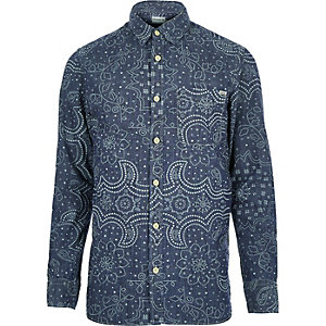 Navy Jack & Jones Premium paisley shirt