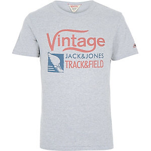 Grey Jack & Jones Vintage brand print t-shirt
