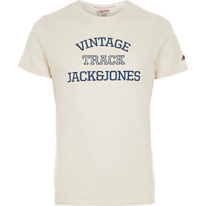 White Jack & Jones Vintage track t-shirt