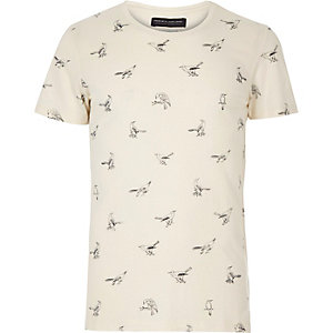 White Jack & Jones Premium bird t-shirt