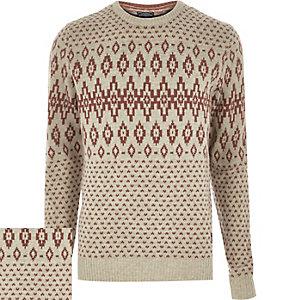 Cream Jack & Jones Vintage knitted jumper