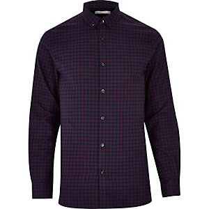 Purple Jack & Jones Premium check shirt