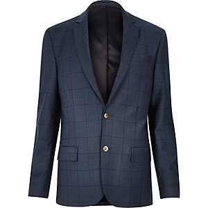 Blue window pane check slim suit jacket