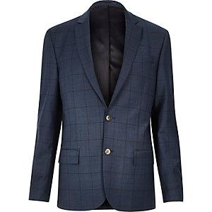 Blue window pane check slim suit jacket
