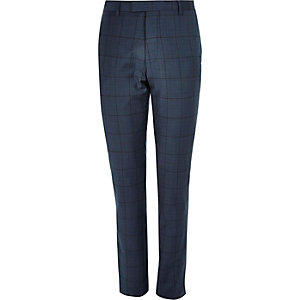 Blue window pane check slim suit pants