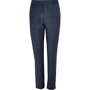 Blue window pane check slim suit pants