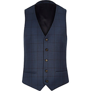 Blue window pane check slim vest
