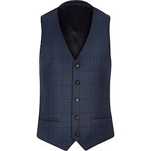 Blue window pane check slim vest
