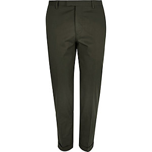Olive green skinny suit pants