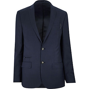 Blue pin stripe slim jacket