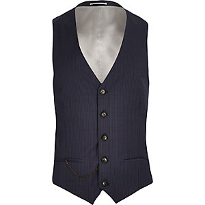 Blue wool-blend pin stripe slim vest