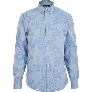Blue jacquard slim fit shirt