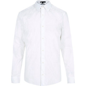White jacquard slim shirt