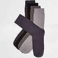 Grey RI icon socks multipack