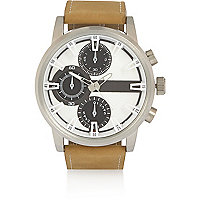 Oversize-Armbanduhr mit drei Zifferblättern in Ecru