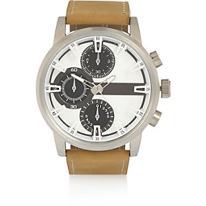 Ecru three dial oversized watch