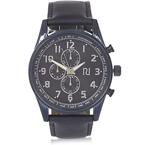 Navy triple dial chunky watch