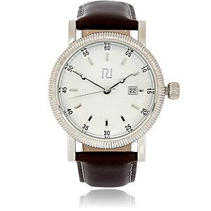 Dark brown textured bezel watch
