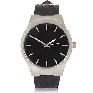 Black minimal textured strap watch