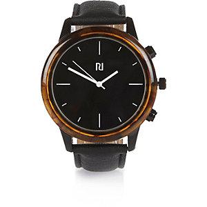 Black tortoise shell minimal large watch