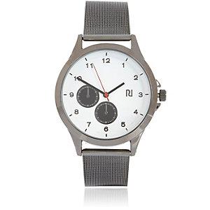 Gunmetal silver tone chain watch