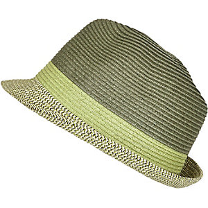 Green straw trilby hat