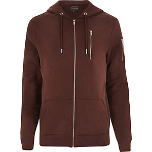 Dark red zip pocket long sleeve hoodie
