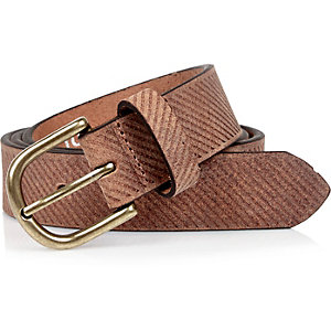 Light brown textured belt