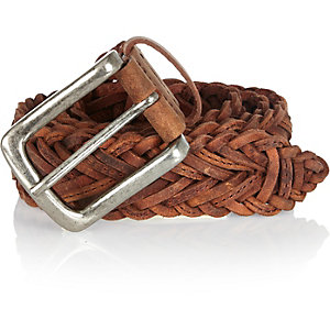 Brown leather plaited belt