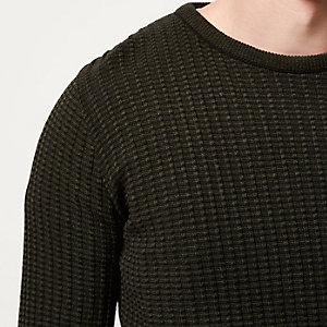 Green ribbed crew neck slim fit jumper