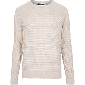 Ecru ribbed crew neck jumper
