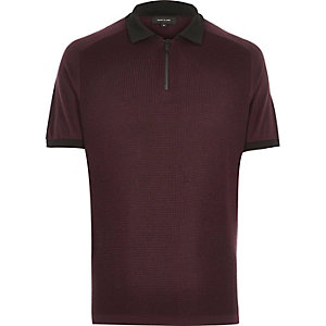 Dark purple zip neck polo shirt